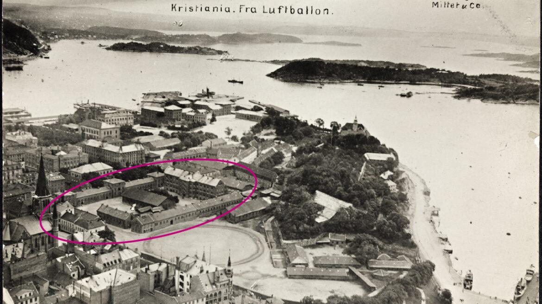 MYNT Kristiania Fra Luftballon 1906 markert 16 9
