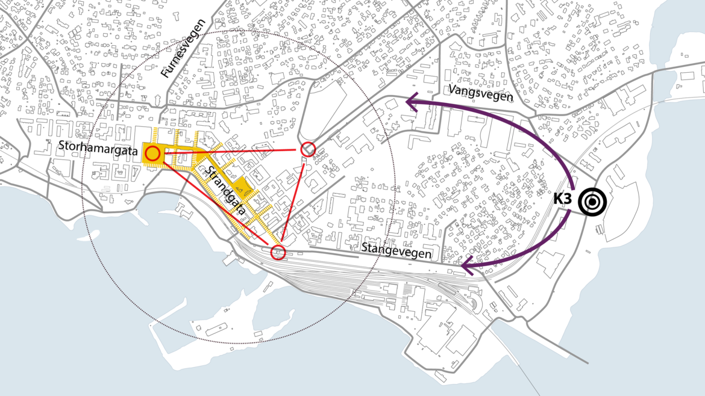 IC V Hamar Øst målpunktbevegelse